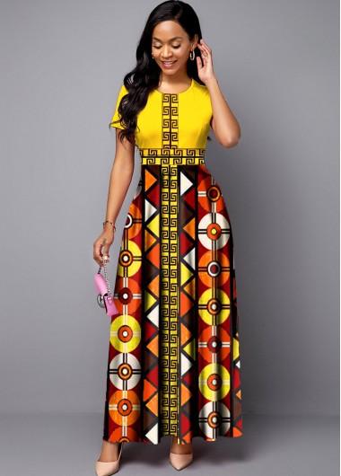 Modlily Bohemian Print Round Neck Short Sleeve Maxi Dress - XXL
