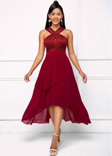 Modlily Asymmetric Hem Mesh Keyhole Neckline Dress - XL