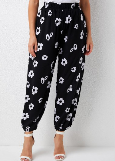 Modlily Floral Print Elastic Detail High Waisted Pants - L