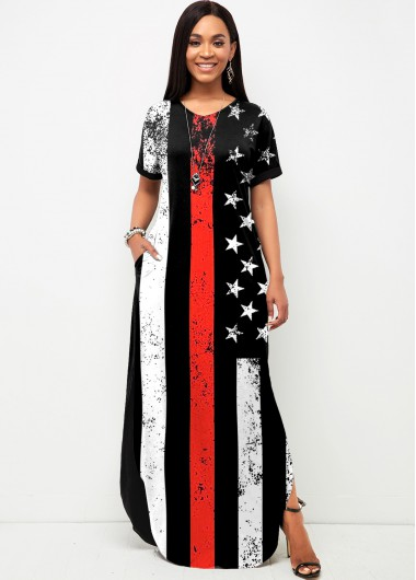 Modlily American Flag Print Side Slit Short Sleeve Dress - XL