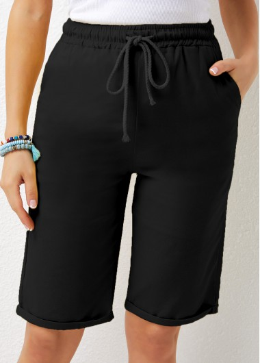 Modlily Pocket Detail Drawstring Waist Solid Shorts - 3XL