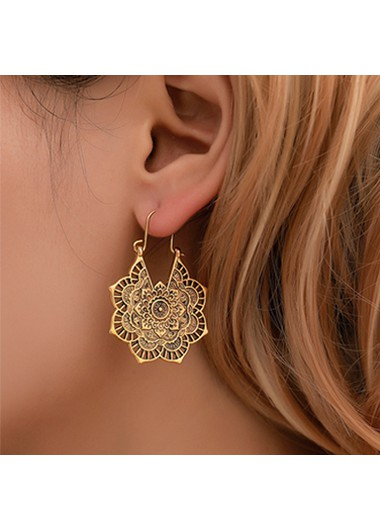Modlily Hollow Out Flower Design Metal Detail Earring Set - One Size