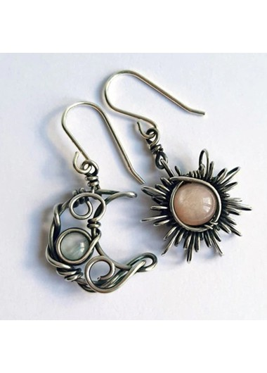 Modlily Moon and Sun Design Metal Detail Earring Set - One Size
