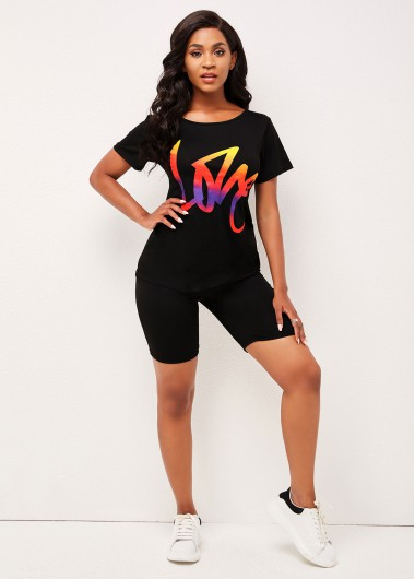 Modlily Black Printed Round Neck T Shirt and Pants - 2XL
