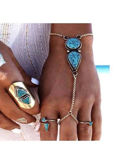 Modlily Turquoise Silver Metal Detail Bohemia Bracelet - One Size