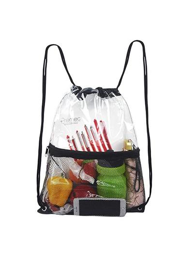 Modlily Transparent Design Drawstring Detail Fishnet Panel Backpack - One Size