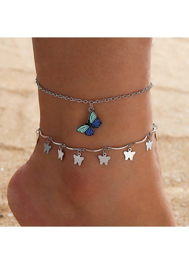 Modlily Butterfly Design Silver Metal Detail Anklets - One Size