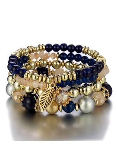 Modlily Leaf Design Navy Blue Bracelets for Women - One Size