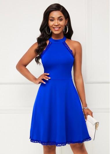 Modlily Bib Neck Sleeveless Lace Stitching Dress - S