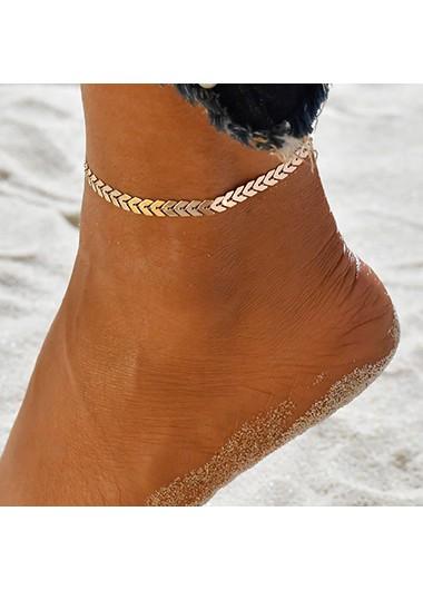 Modlily Bohemian Arrow Design Gold Metal Detail Anklet - One Size