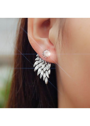 Modlily Rhinestone Detail Wings Design Silver Earring Set - One Size