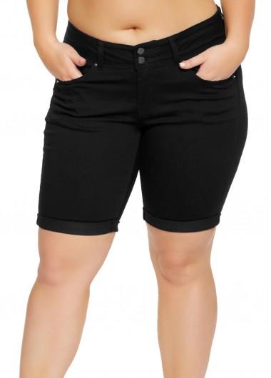 Modlily Pocket Black Mid Waist Button Shorts - L