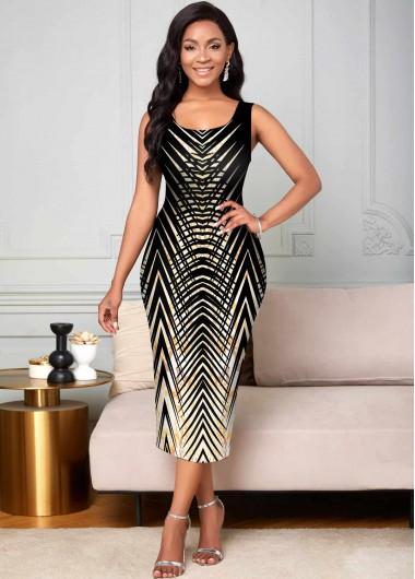 Modlily Animal Prints Round Neck Sleeveless Dress - XL