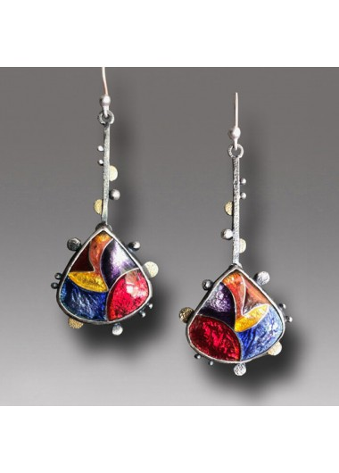 Modlily 1 Pair Bohemian Colorful Metal Detail Earrings - One Size