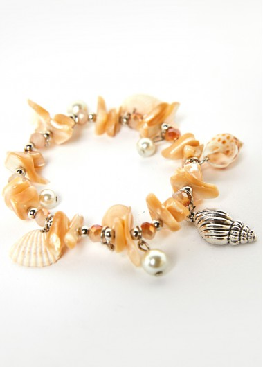 Modlily Conch Detail Pearl Design Beige Anklet - One Size