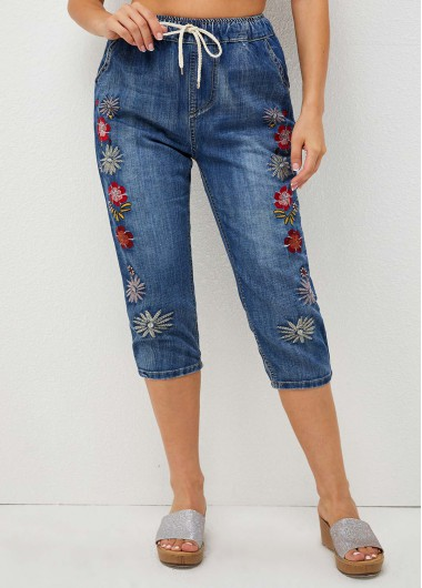 Modlily Drawstring Detail Embroidered High Waist Jeans - XL