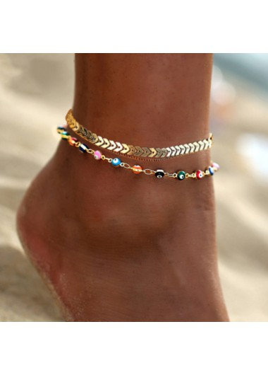 Modlily Rainbow Color Eye Design Metal Anklet - One Size