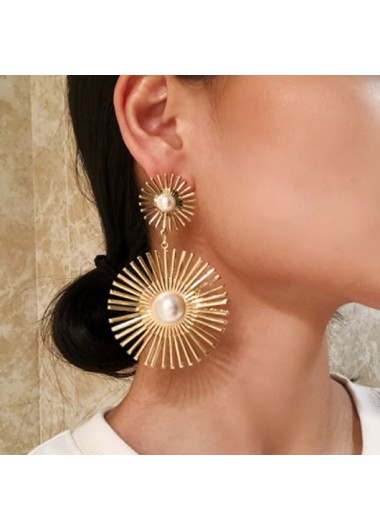 Modlily Flower Design Pearl Detail Gold Earring Set - One Size