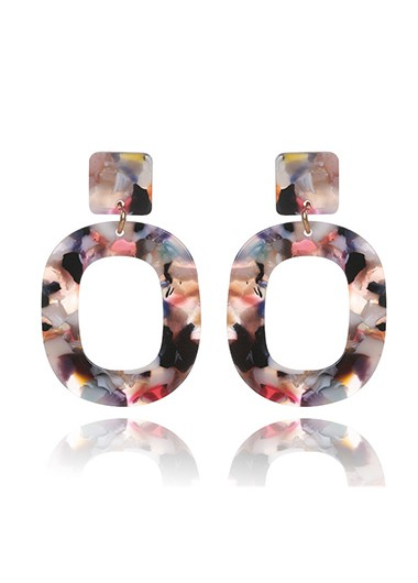 Modlily Geometric Design Multi Color Earring Set - One Size