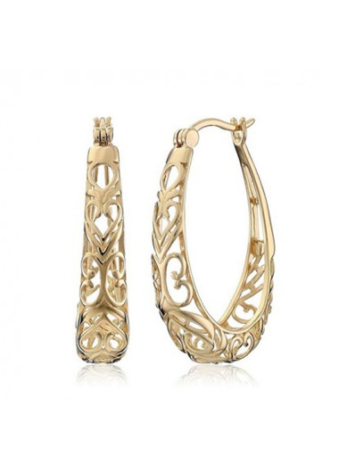 Modlily Hollow Out Design Gold Metal Detail Earring Set - One Size