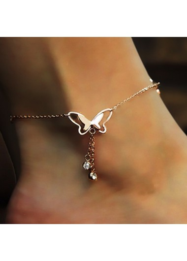 Modlily Butterfly Deaign Rhinestone Detail Hollow Out Anklet - One Size