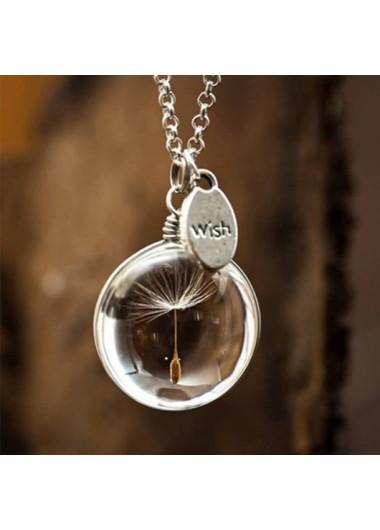 Modlily Dandelion Design Letter Print Silver Necklace - One Size