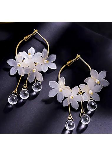 Modlily Floral Design Metal Detail Crystal Earring Set - One Size