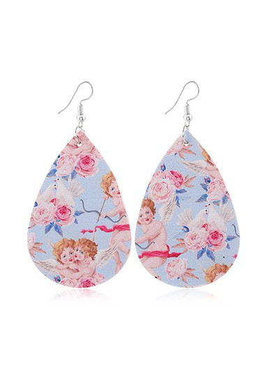 Modlily Faux Leather Flower Print Multi Color Earring Set - One Size