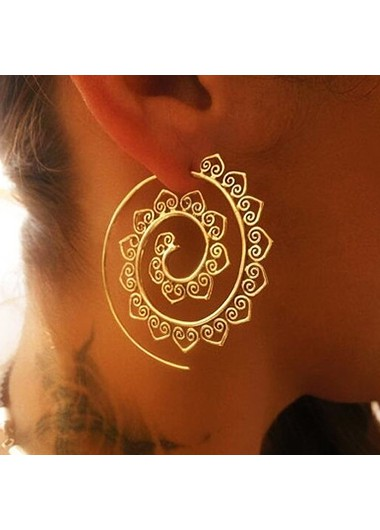 Modlily Heart Deaign Gold Metal Detail Retro Earrin Set - One Size