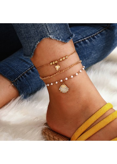 Modlily Rhinestone Detail Gold Pearl Design Anklets - One Size