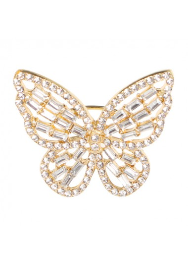 Modlily Butterfly Rhinestone Design Metal Detail Ring - One Size