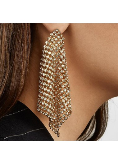Modlily Rhinestone Design Hollow Out Metal Detail Earring Set - One Size