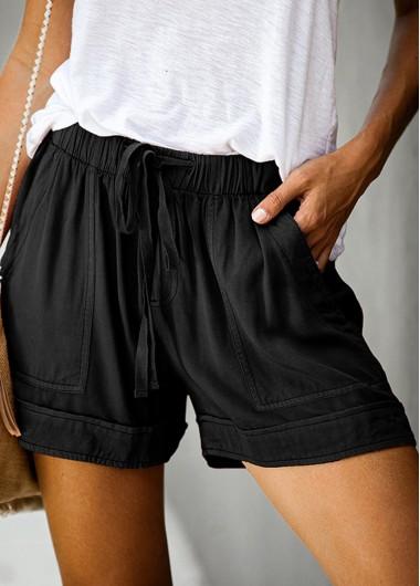 Modlily Solid Pocket Detail Elastic Waist Shorts - XL