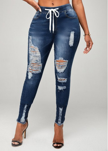 Modlily Shredded Skinny Mid Waist Drawstring Detail Jeans - 2XL