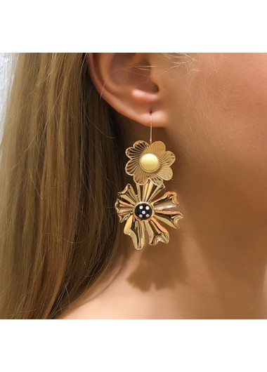 Modlily Flower Desiign Metal Detail Gold Earring Set - One Size
