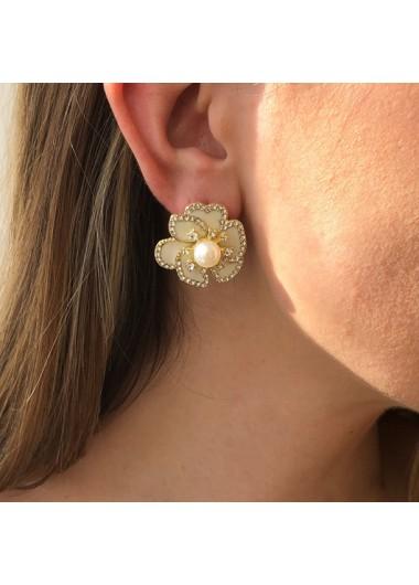 Modlily Flower Design Pearl Detail Rhinestone Earring Set - One Size