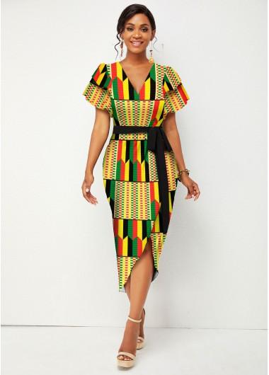 Modlily Belted Short Sleeve V Neck Tribal Print Dress - S