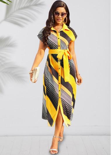 Modlily Belted Short Sleeve Turndown Collar Geometric Print Dress - S