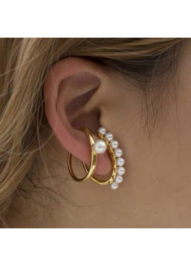 Modlily Pearl Destail Metal Ring Detail Earring Set - One Size
