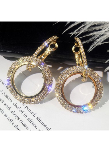 Modlily Rhinestone Detail Double Ring Design Earring Set - One Size