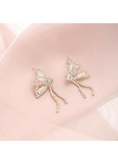 Modlily Rhinestone Detail Butterfly Design Gold Earring Set - One Size