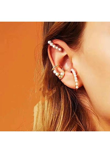 Modlily Pearl Design Metal Detail Earring Set - One Size