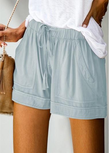 Modlily Solid Double Pocket Drawstring Waist Shorts - M