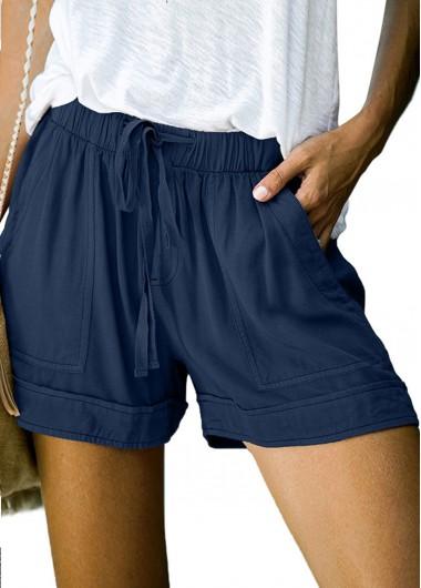 Modlily Drawstring Waist Solid Double Pocket Shorts - M