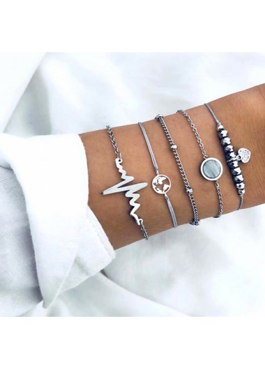 Modlily Electrocardiogram and Map Design Silver Metal Detail Bracelets - One Size