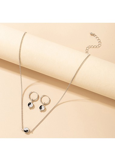 Modlily Metal Detail Necklace and Silver Earring Set - One Size