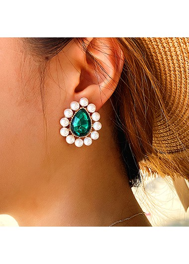Modlily Pearl Detail Rhinestone Design Green Earrings - One Size