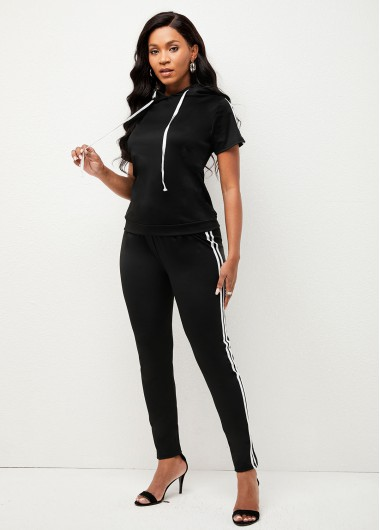 Modlily Hooded Collar Striped Short Sleeve Sweatsuit - M