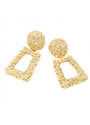 Modlily 1 Pair Plastic Round Shape Gold Earrings - One Size
