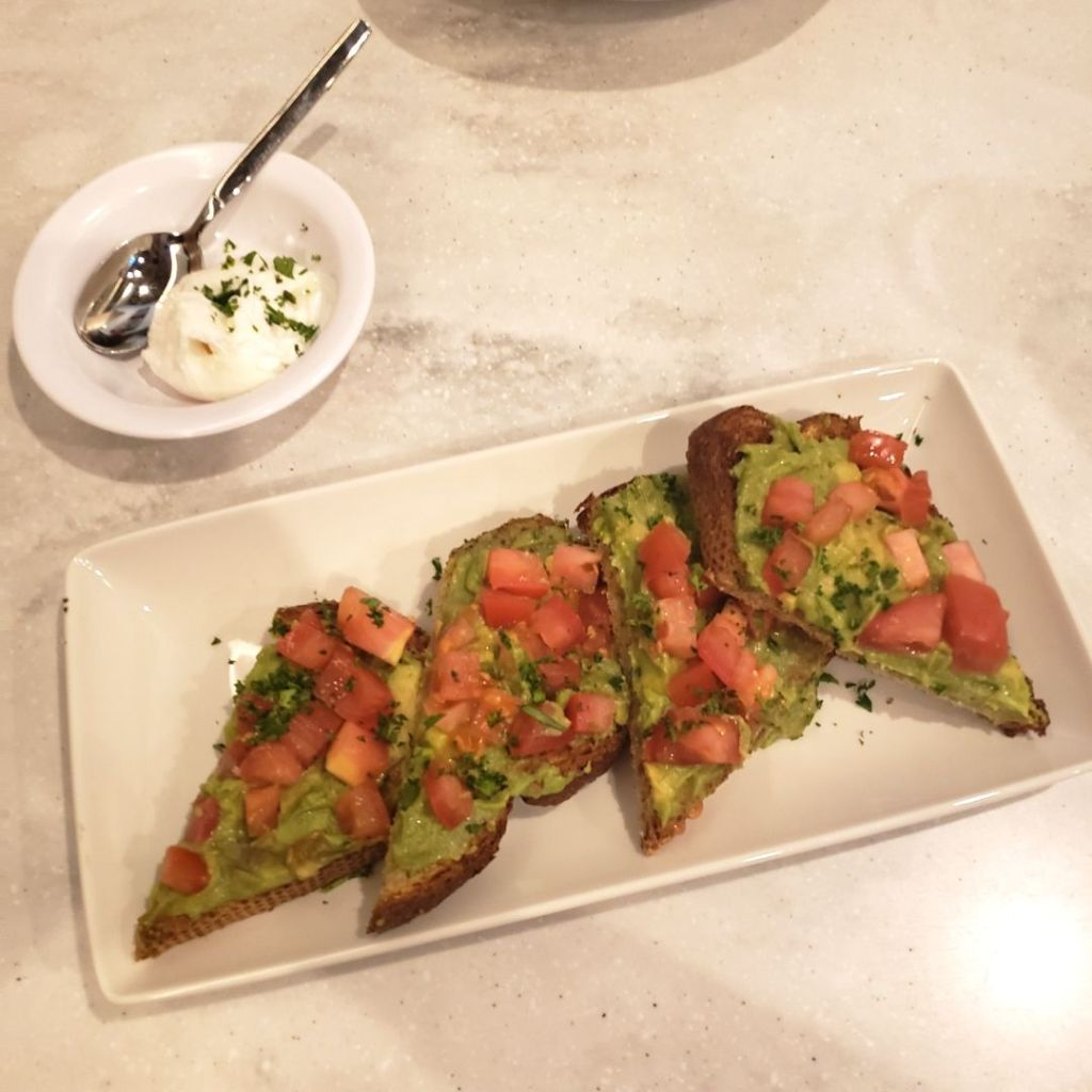 Matchbox Diner Avocado Toast with Tomatoes
